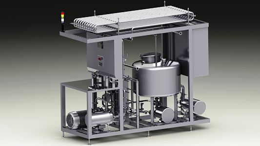 egg processing, pasteurizer, pasteurizer with integrated filler